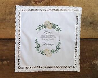 Wedding Handkerchief - Mother of the Bride Gift - Wedding Gift to Mother - Custom Wedding Gift - Personalized Gift - Printed Handkerchief