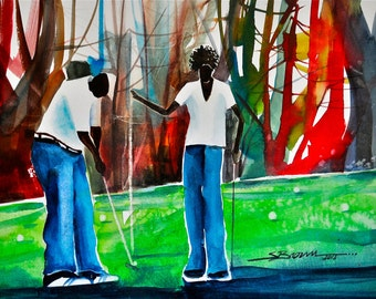 Summer Golf Watercolor Print, African American Art, Contemporary Art, Golf Art, Abstract Painting, Abstract Art, Gift for Dad, Gift for Him