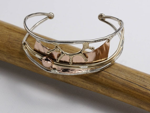 Mixed metal bracelet, cuff bracelet, bronze, copper, nickel silver, sterling silver large size