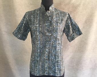 Vintage 60's Short Sleeve Shirt, Hawaiian Tiki Style Print, Gray and Blue, TIKI OASIS Size Extra Small XS