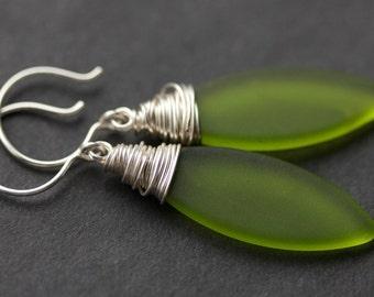 Olive Seaglass Earrings. Green Seaglass Dangle Earrings. Marquis Style Frosted Earrings. Wire Wrapped Earrings. Handmade Jewelry.