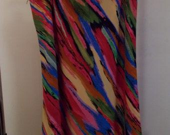 90s Multicolored brush stroke pattern flared Skirt