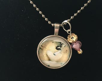 Handmade Polar bears Necklace with Charm