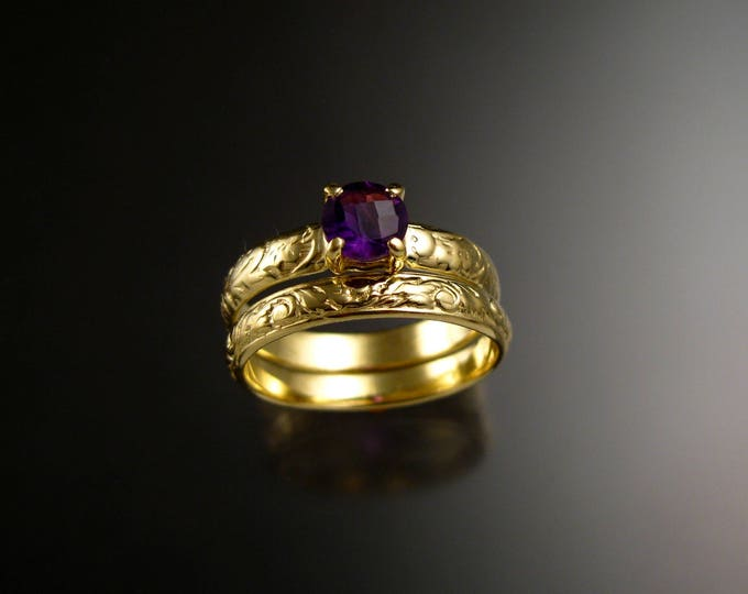 Amethyst Wedding ring 14k Green Gold Victorian Floral pattern Engagement ring and matching band set made to order in your size
