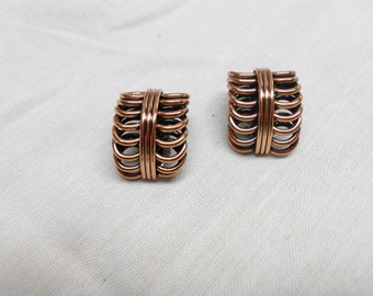 Vintage Renoir Copper Clip On Earrings Signed Coil Design Great Condition 1""