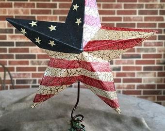 "Vintage Style Rustic Americana Star Tree Topper Metal Patriotic USA FLAG, Mini 5 1/2"" Tall"