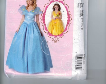 Girls Costume Sewing Pattern McCalls M7213 7213 or MP440 Cinderella Belle Beauty and the Beast Disney Princess Size 3 4 5 6 7 8 UNCUT