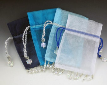 Blue and White Organza Bags for Jewelry, set of 4, drawstring bag, organza jewelry bags, fabric bags, shop supplies, packaging,bags,mgsupply