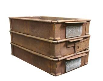 Vintage Industrial Metal Crate -- Rustic Steel Storage Box
