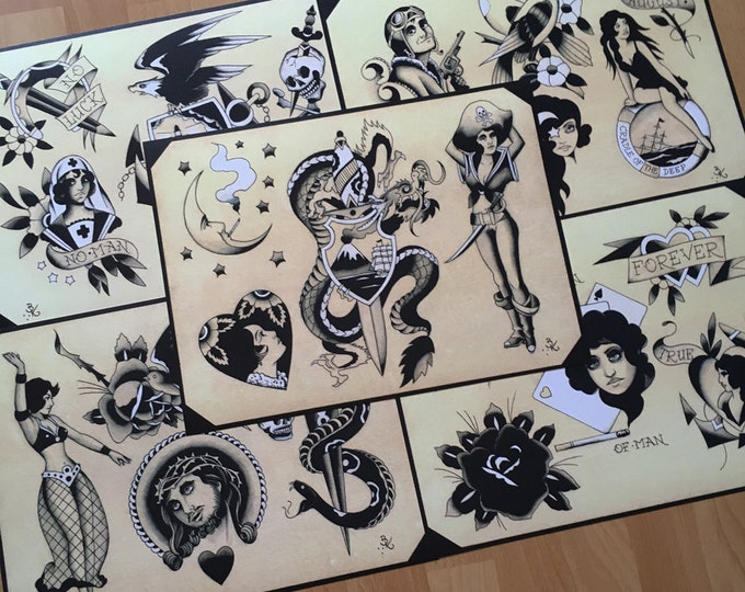 Black, Grey, and White Traditional Tattoo Flash Set 28 by Brian Kelly. 5 Sheets