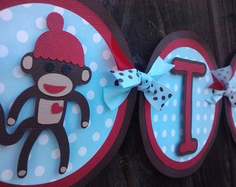 Sock Monkey Banner in red, brown and blue. Sock Monkey Birthday. Sock Monkey Baby Shower. Monkey Banner. Monkey Baby Shower. Monkey Birthday