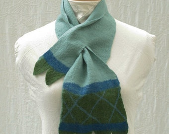 French Balloon Scarflette - Hand Felted Merino Wool - Wool Scarf - Basket Weave - Scalloped - Scarf - Multicolor