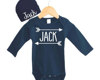 Navy Personalized Baby Boy Gift,  Personalized Baby Hat, Baby Boy Arrow Outfit, Navy Hat and gown set, Navy Personalized Navy Bodysuit