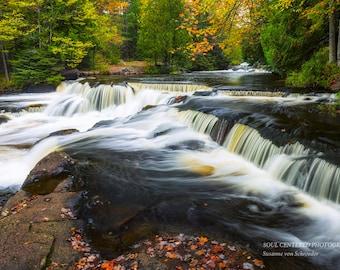 Waterfall Photography, Bond Falls, Fall Colors, Michigan, Fine Art Print, Cascades, Silky Water, Woodland, Magical, Cabin Home Decor