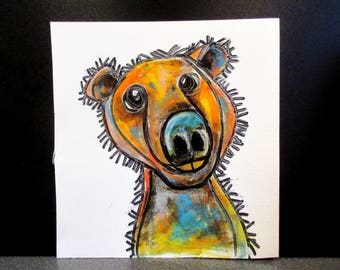 Grizzly Bear!!! .An original watercolour, pastel and pen painting by Suzanne Patterson.Stylised