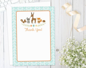 WOODLAND THANK YOU Card | Printed | Woodland Baby Shower Thank You Card with deer, fox, rabbit, hedgehog, orange | Printed Thank You Card