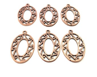 6 Copper Charm Antique Copper Charm Antique Copper Plated Metal (32x18mm) G11530