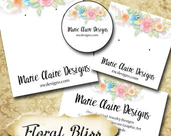 FLORAL BLISS•Custom Tags•Labels•Earring Display•Clothing Tags•Custom Hang Tags•Boutique Card•Tags•Custom Tags•Custom Labels