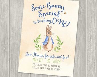 Peter Rabbit  Birthday Invitation, Peter Rabbit Birthday Party, Some Bunny is One, Some Bunny Birthday, First birthday
