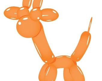 Vinyl Decal Slap Sticker Multi Color - Cute Birthday Party Balloon Animal - Orange Giraffe (Tall)