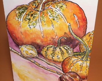 Pumpkin Gourd and Pod Greeting Card, By Michelle Kogan, Holidays, Thank you card, Birthday card, Thanks Giving Card, Watercolor, Painting