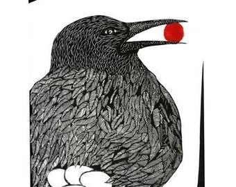 Bird With Berry - Linocut print in two colours