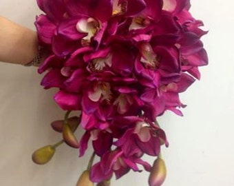 Hot Pink Orchid Cascading Bride Bouquet