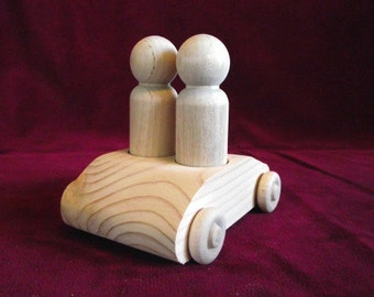 Unfinished No. 4 Vehicle; 2-seater Pine Car with Tall Man Peg Dolls