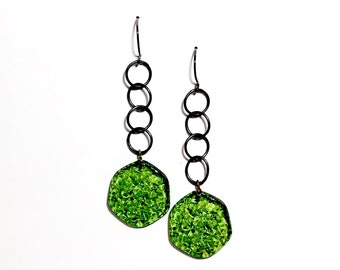 Sea Glass Green Textured 'Stained Glass' Lucite Chain Drop Earrings   Vintage Lucite Statement Earrings