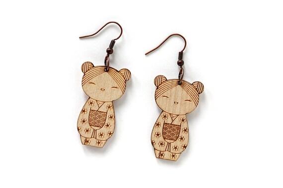 Kokeshi earrings - lasercut maple wood - Japanese doll earrings - kawaii jewelry - cute jewellery - lasercutting - traditional character