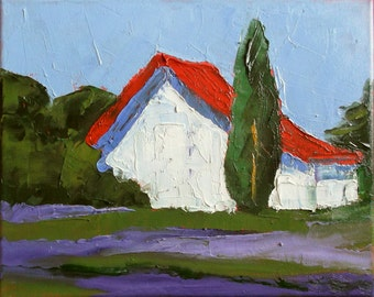 Impressionist Wild Lavender Painting Plein Air Landscape Provence France Art Lynne French o/c 8x10