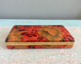 Vintage travel jewelry case Orange Red Floral Jewelry Box Red Interior Vintage Jewelry case