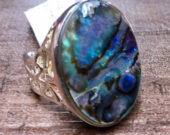 Abalone shell + Sterling Silver 925 Statement Ring Size 8