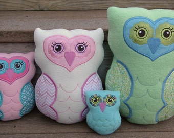 In the Hoop Owl Softie Toys Machine Embroidery Files Instant Download
