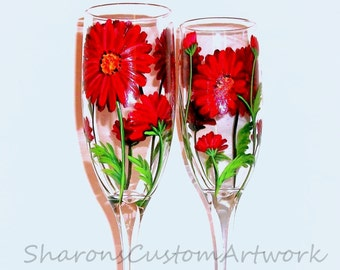 Red Gerber Daisies Hand Painted Champagne Glasses Set of 2 -6 oz. Toasting Flutes Wedding Anniversary Gift Red Flowers Daisies Green Gerbera