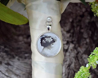 Silver Wedding Bouquet Photo Charm Kit Bridal Antique Silver Memory Accents Frame Set