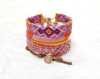 Boho Bracelet Stack, Hippie Bracelets for Girls, Beach Jewelry, Gypsy Bracelets, Orange Bracelets, Braided Bracelets, Thread Bracelets