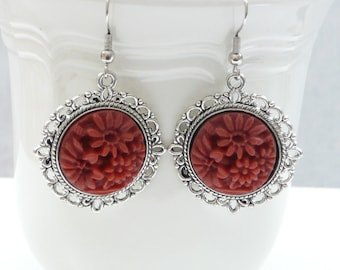 nd-Vintage Style Silver and Brick Red Dangle Earrings