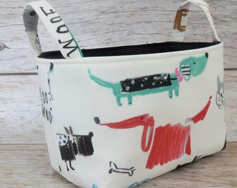 Storage Fabric Organizer Bin Container Basket - Colorful Fun Dogs Puppies on White Fabric - Dog Treats - Dog Toys
