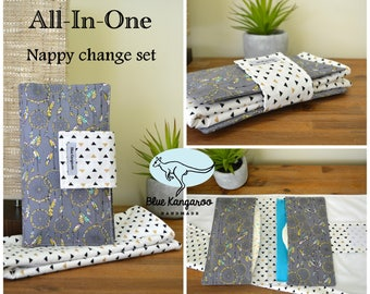 Nappy change set, diaper wallet, waterproof change mat