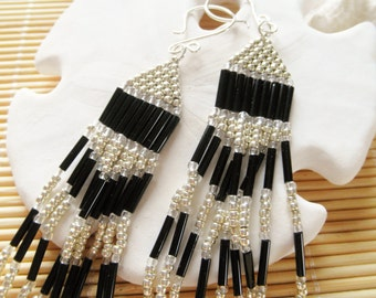 Silver and Black Chevron Earrings