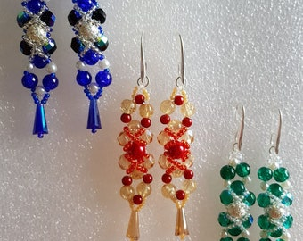 Long earrings with half crystals