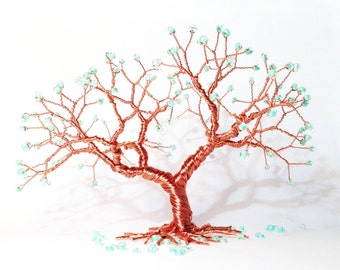 Trauerweide-Draht-Kunst-Baum Silberdraht Perlen Miniatur