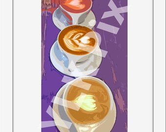 Coffee - Purple, Adapted Photography, Watercolor-like, Wall Art Decor