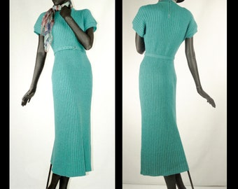 1940s Dress Teal Green Cable Knit with Belt Sz 8 #1502