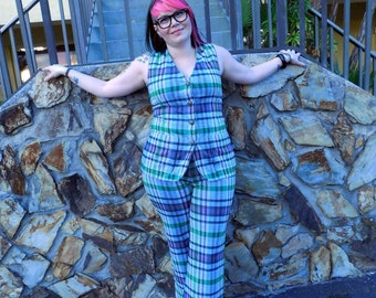 ACT III 70's plaid polyester two piece pant suit