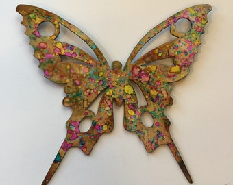 Hand Painted Metal Butterfly Wall Decor