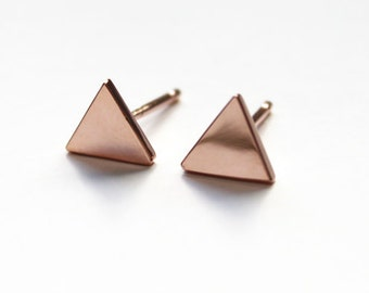 Tiny Triangle Stud earrings 14K rose gold dipped