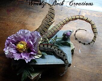 Lavender Grandeur Hair Clip  Fascinator - Steampunk, Wedding, Renaissance, Feather, Tribal Belly Dance, ATS, Hair Garden, Purple, Pheasant