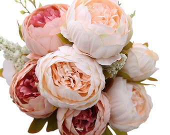 Decorative Artificial Flower Blush Silk Peony Flowers Bouquet Flower Peonies Bouquet For Home Wedding Flowers Arrangement HZ-19191-01